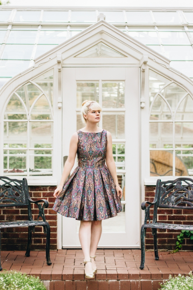 mox and socks modcloth paisley dress gold seychelles heels (8).jpg