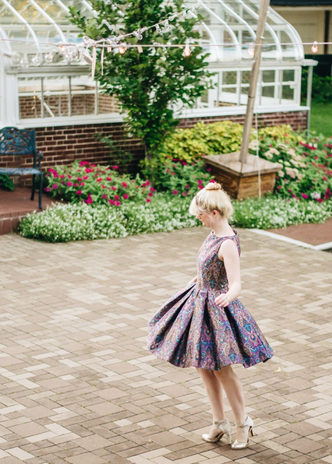 mox and socks modcloth paisley dress gold seychelles heels